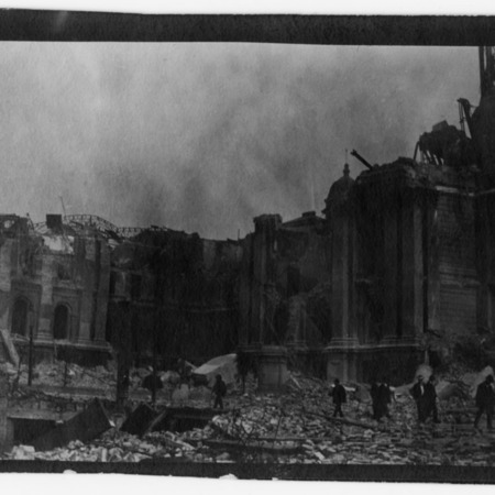 """""""Looking toward Ferry. City Hall in the way showing ruin."""""""