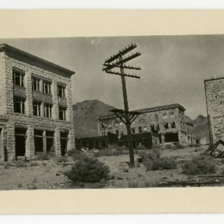 View of Rhyolite, Nevada showing the Overbury Building, 1920s