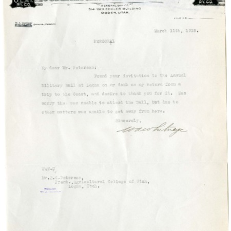Whitney to Peterson, Military Ball Invitation, 1918<br />