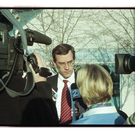 Cache County Attorney Scott Wyatt speaks to the media after preliminary trial for the three watchmen of St. Anne's Retreat Image 1 of 11