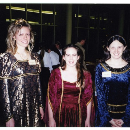 Liz Woolcott with co-workers Tonya Sorenson and Michelle Mascaro dressed in 16th century costume for the Hatch Room Gala<br />