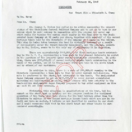 Champ Notes U.I.C. Bankruptcy and New Ownership of the Railroad, 1945<br />