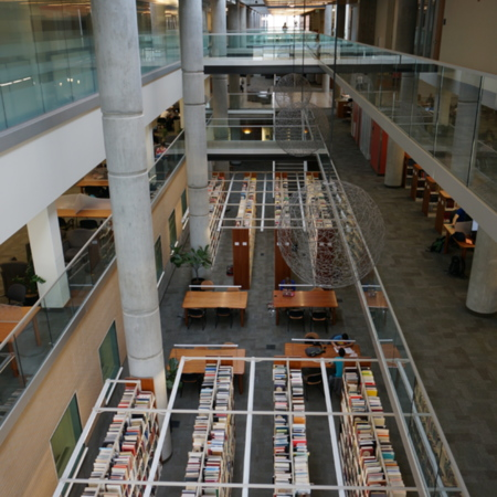 View of the lower level stacks, from the second floor, facing North<br />