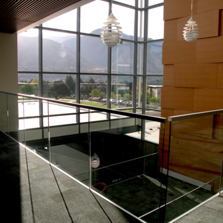 View through the second floor atrium windows, facing Southeast <br />