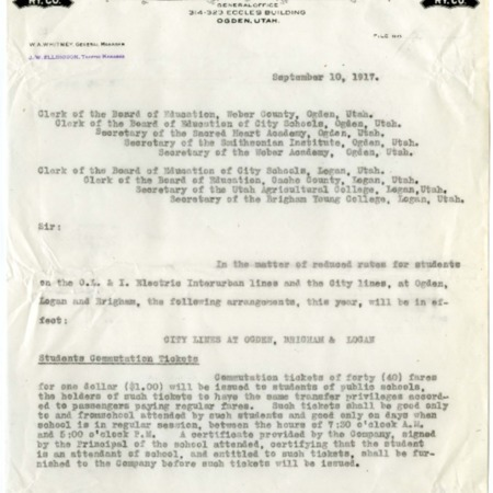 Ellingson to Northern Utah Boards of Education and Educational Institutes, Information on Student Tickets, 1917<br />