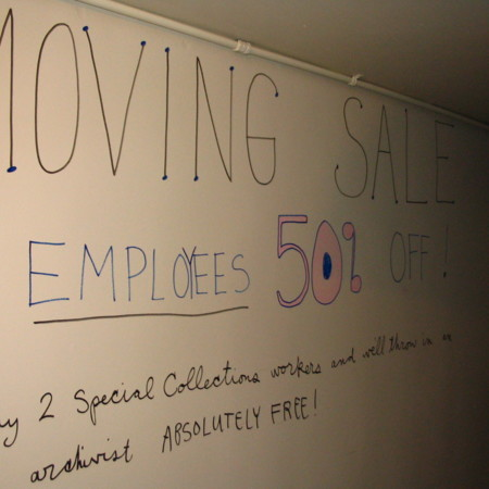 Merrill Library graffiti - Moving sale<br />