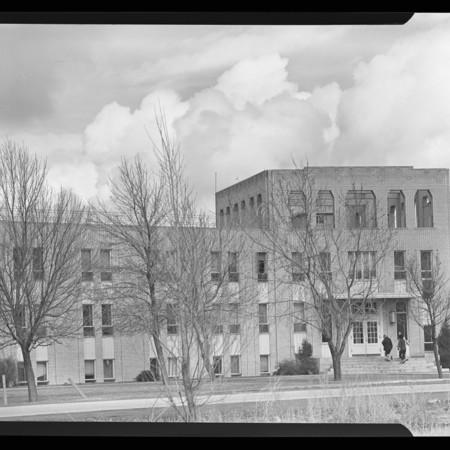 Anthon H. Lund Hall (dormitory), looking north, undated <br />