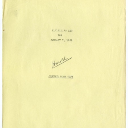 Control room copy of KVNU's program schedule and log, January 7, 1939.