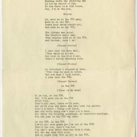 """Transcribed copy of """"Meet Me at the TUB,"""" c. 1945"""