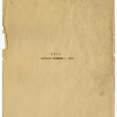 program schedule for KVNU Radio, December 1, 1945.
