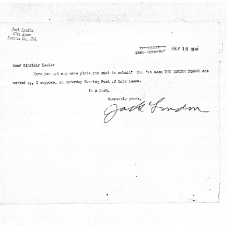 Jack London letters to Sinclair Lewis, dated September through December 1910
