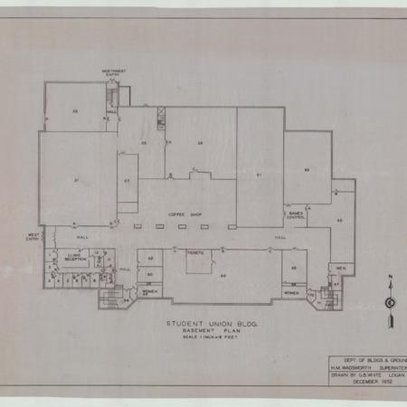 Student Union Building blueprints, 1952