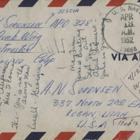 Personal letter from Robert N. Sorensen to Alma N. Sorensen, April 12, 1952