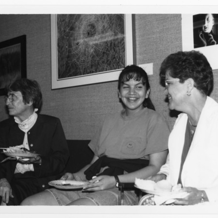 Mary Piette (left) &amp; others at a buffet in ML 102<br />