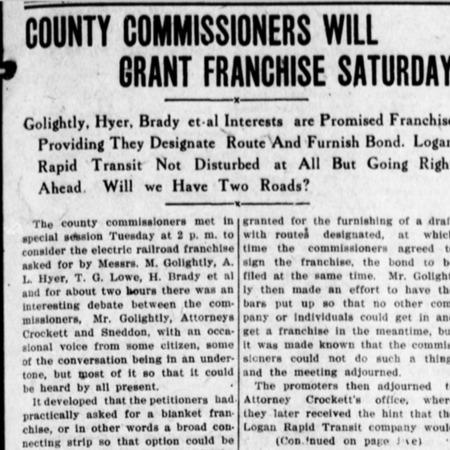 """""""County Commissioners Will Grant Franchise Saturday,"""" Logan Republican, 1912<br />"""