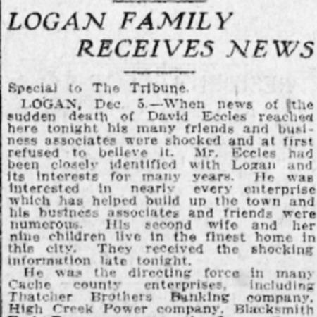 """Logan Family Receives News,"" Salt Lake Tribune, 1912<br />"