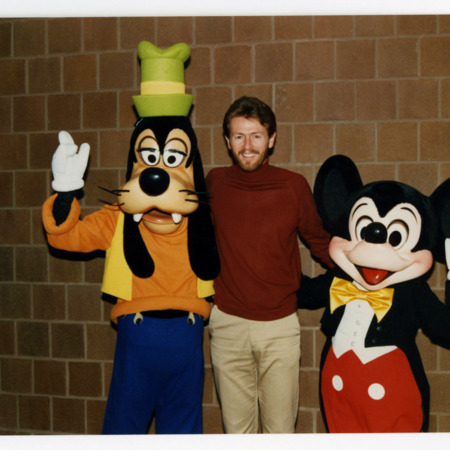 Jonathan Bullen with Mickey Mouse and Goofy, 1989