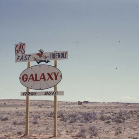Galaxy Gas Road Sign;