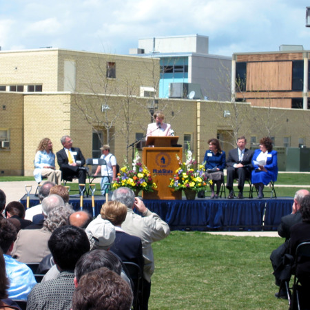 Linda Wolcott speaking at the Merrill-Cazier Library groundbreaking ceremony