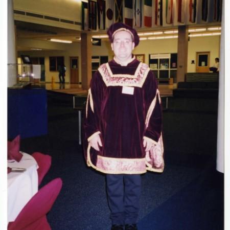 Photo archivist Dan Davis dressed in 16th century costume for the Hatch Room Gala