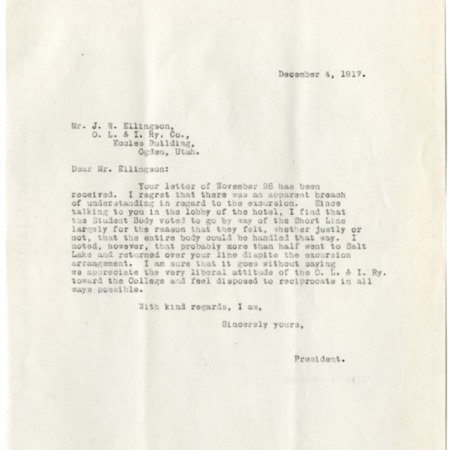 Peterson to Ellingson, Student Body Excursion Letter and Response, 1917<br />