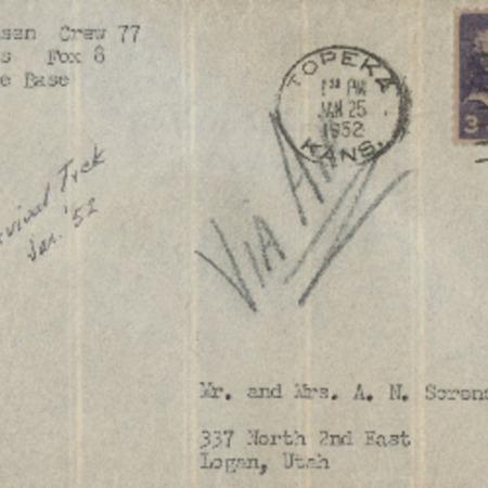 Correspondence from Robert N. Sorensen to Alma N. Sorensen, January 25, 1952