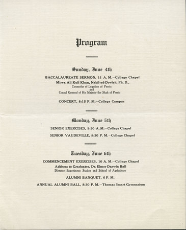 1916 UAC Commencement Invitation Page 1
