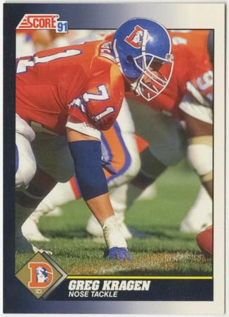 Football card - Greg Kragen, Denver Broncos, 1991