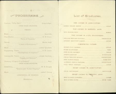 1894 UAC Commencement Program Page 1 & 2