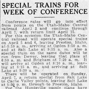 """""""Special Trains for Week of Conference,"""" Salt Lake Tribune, 1918<br />"""