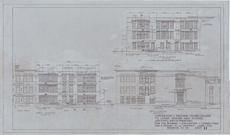 Conversion of Brigham Young College to Logan Senior High School; north, south, and west elevation