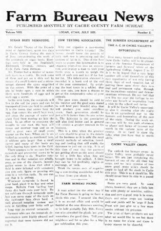 Farm Bureau News, Cache County, Volume VIII, Number 2, July 1921