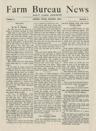 Farm Bureau News, Salt Lake County, 1917-1922