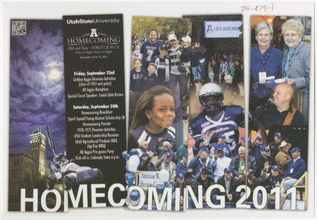 """Mailer - USU homecoming 2011, """"Old and New, Forever Blue."""""""