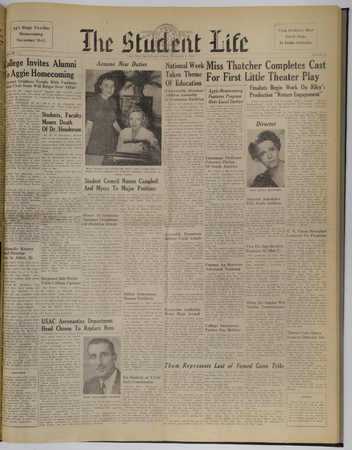 """A page from the """"Student Life"""" newspaper, November 10, 1944"""