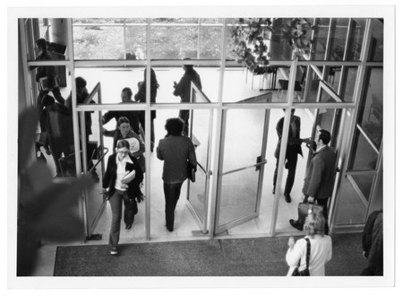 Students entering the Merrill Library