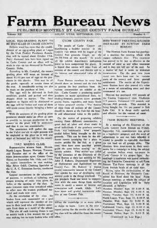 Farm Bureau News, Cache County, Volume XII, Number 4, September 1926