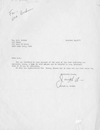 I Remember the Utah Self-Help Cooperative Board, by Joseph A. Geddes