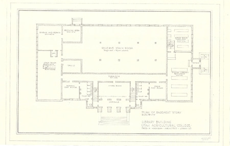 Plan of Basement Story of the USAC Library Building<br />