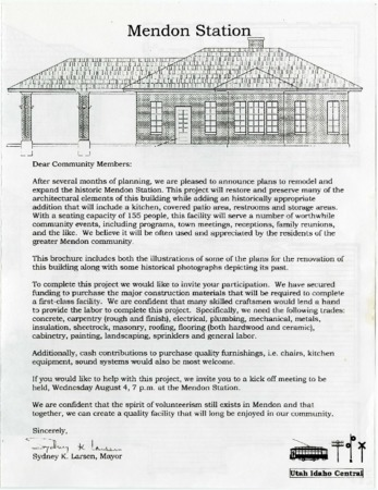 Announcement for Renovation of the Mendon Station, 2004<br />