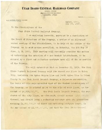U.I.C. Stockholder Meeting Announcement Letter, 1920<br />
