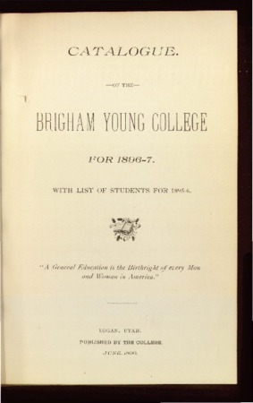 Catalogue of the Brigham Young College for 1896-1897