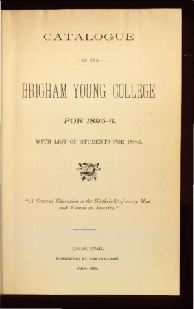 Catalogue of the Brigham Young College for 1895-6 with list of students for 1894-1895
