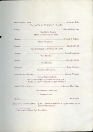 1897 UAC Commencement Program, Page 2