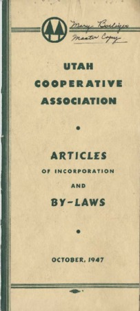 Utah Cooperative Association Articles of Incorporation and Bylaws