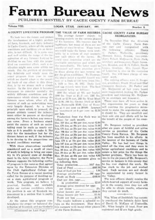Farm Bureau News, Cache County, Volume VIII, Number 8, January 1923