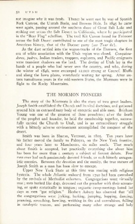 Utah State Guide p. 52, the Mormon Pioneers Section