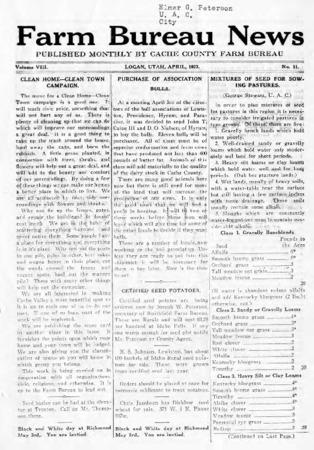 Farm Bureau News, Cache County, Volume VIII, No. 11, April 1923