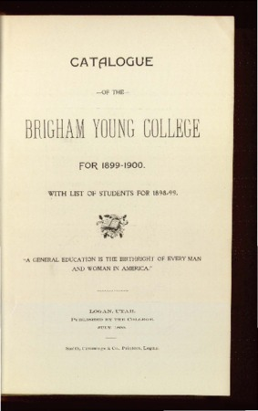 Catalogue of the Brigham Young College for 1899-1900