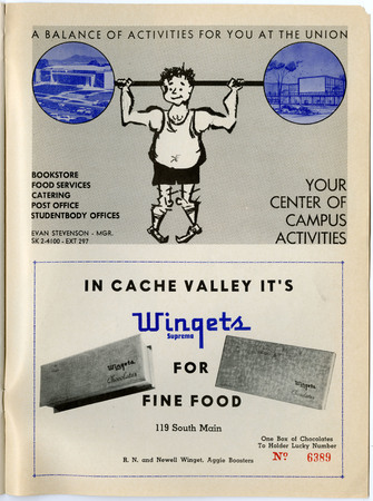 Student Center and Wingets advertisements, 1962
